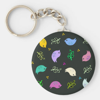 Little Colorful Birds Pattern on Black Basic Round Button Key Ring