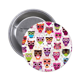 Little Colorful Cute Owls Print Pattern Button