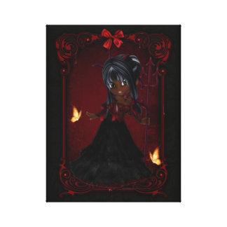 Little Cookie Devil Girl Design 4 Wrapped Canvas Canvas Prints