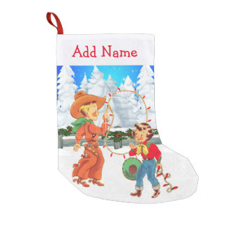 Little Cowboy And Cowgirl With Rope  Lights Winter Small Christmas Stocking