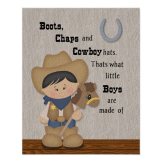 Little Cowboy Boots and Chaps Wordart Poster