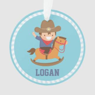 Little Cowboy on Rocking Horse Boys Room Ornament