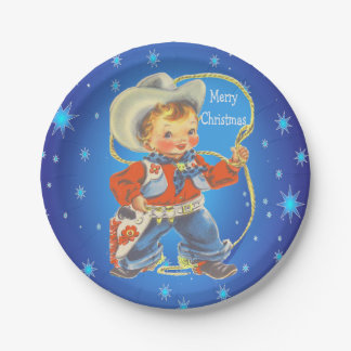 Little Cowboy With Rope Merry Christmas Paper Plate