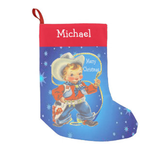 Little Cowboy With Rope Merry Christmas Small Christmas Stocking