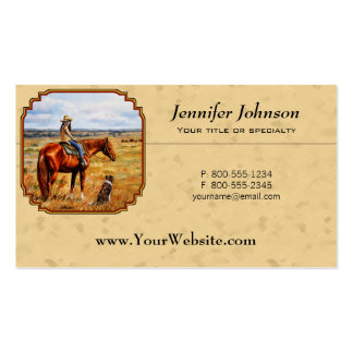Little Cowgirl on Cattle Horse Double-Sided Standard Business Cards (Pack Of 100)