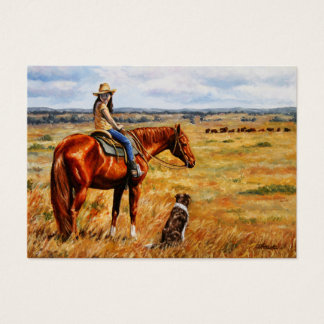 Little Cowgirl on Cattle Horse Business Card