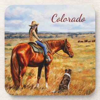 Little Cowgirl on Cattle Horse Colorado Beverage Coasters