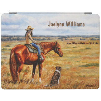 Little Cowgirl on Cattle Horse iPad Cover