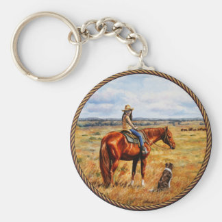 Little Cowgirl on Cattle Horse Basic Round Button Key Ring