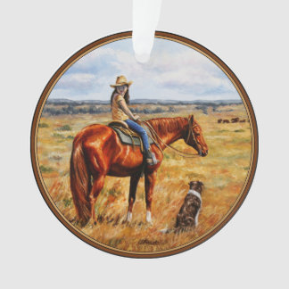 Little Cowgirl on Cattle Horse Ornament