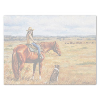 Little Cowgirl on Cattle Horse Tissue Paper