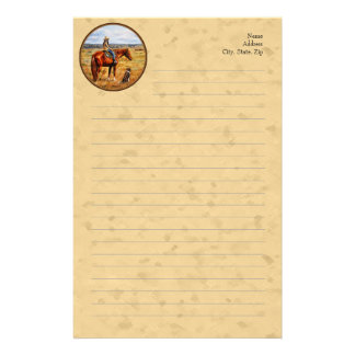 Little Cowgirl on Cattle Horse Yellow Customized Stationery