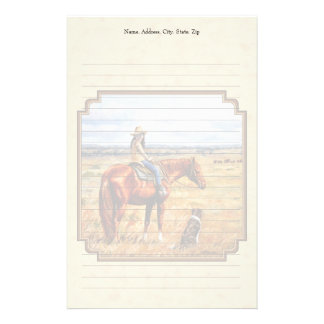Little Cowgirl on Cattle Horse Yellow Stationery