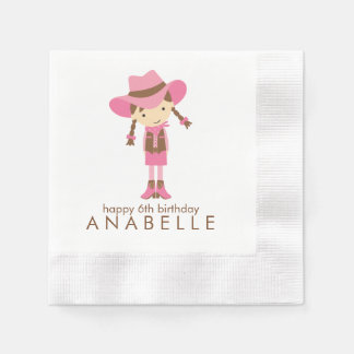Little Cowgirl Western Birthday Party Disposable Serviette