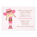 Little Cowgirl Western Birthday Party Custom Invites