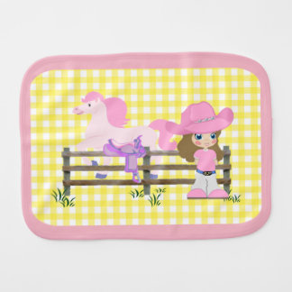 Little Cowgirl With Horse Fence and Saddle Baby Burp Cloth