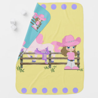 Little Cowgirl With Horse Fence and Saddle Pramblanket