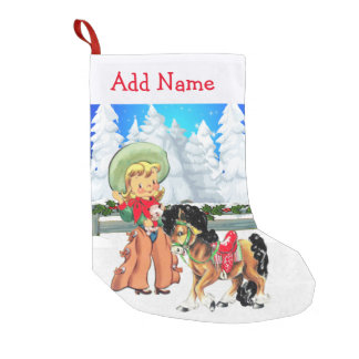 Little Cowgirl With Horse  Winter Scene Small Christmas Stocking
