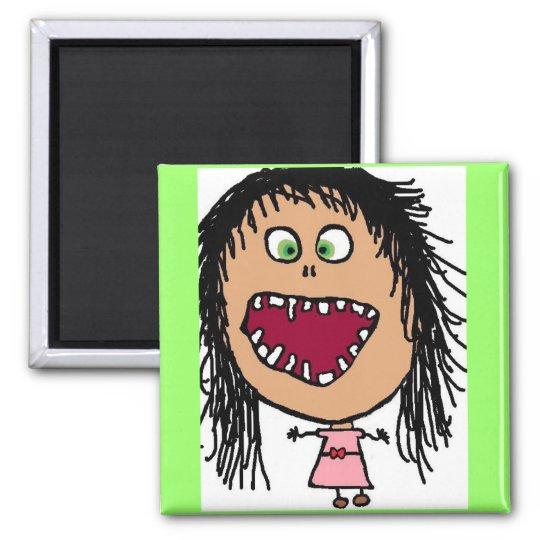 Little Crazy Eye Cartoon Girl Square Magnet