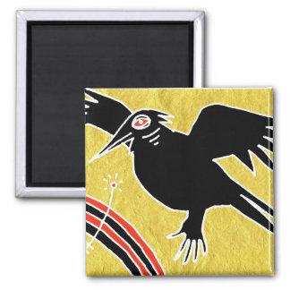 little crow fridge magnet