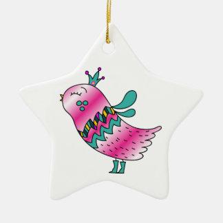Little Crowned Pink Birdie Christmas Ornaments