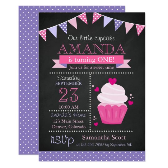 Little Cupcake Chalkboard Pink Birthday Party Card