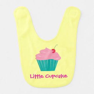 Little Cupcake, Pink and Teal Baby Bibs