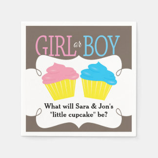 Little Cupcake Pink or Blue Gender Reveal Party Paper Serviettes