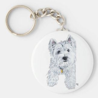 Little Curious Westie Basic Round Button Key Ring