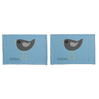 Little cute black baby bird pillowcase