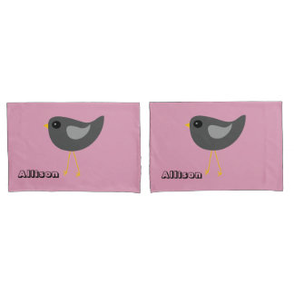 Little cute black baby bird pink pillowcase