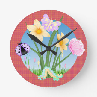 Little Cute Bugs Butterfly Caterpillar LadyBug Round Clock