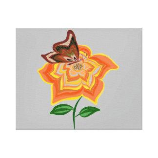 Little Cute Butterfly on Sunflower canvas print