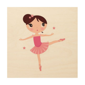 Little cute dancing balerina wood print