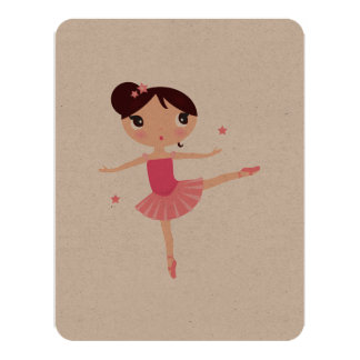 Little cute hand drawn Balerina / Pink Card