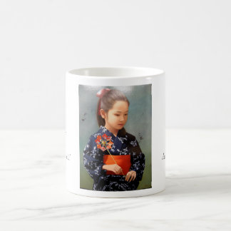 LIttle cute japanese girl kimono portrait painting Basic White Mug