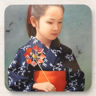 LIttle cute japanese girl kimono portrait painting Beverage Coaster