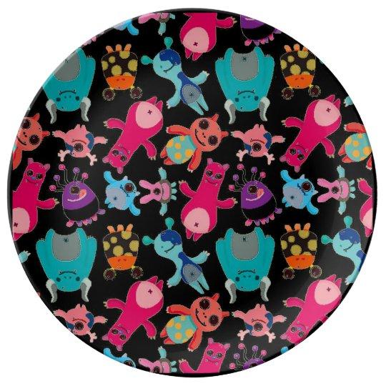 little cute monsters porcelain plate