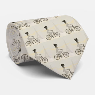 Little cycling girl,  Paris, Eiffel Tower Tie