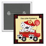 Little Dalmation Fireman - Customise 15 Cm Square Badge