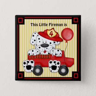 Little Dalmation Fireman - Customize 15 Cm Square Badge