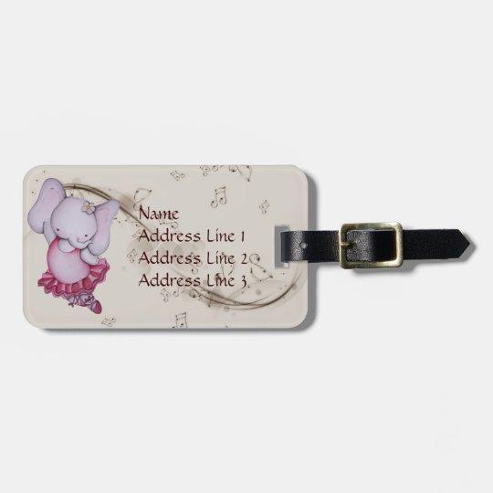 Little Dancing Ballerina Elephant Luggage Tag