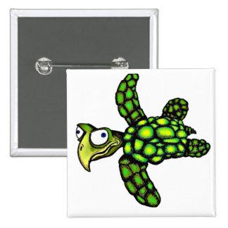 """Little Dave"" Turtle, Fish with Attitude 15 Cm Square Badge"
