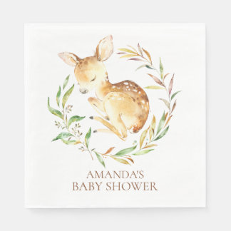 Little Deer Neutral Baby Shower Paper Napkins Paper Napkin