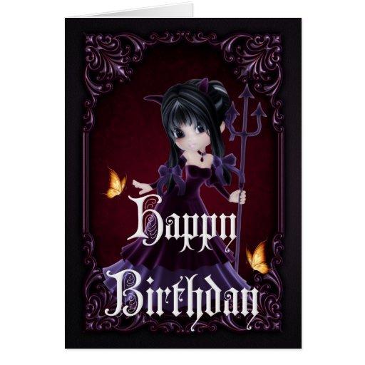 Little Devil 6 Gothic Happy Birthday Card