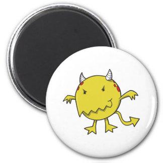 little devil inside yellow fridge magnet