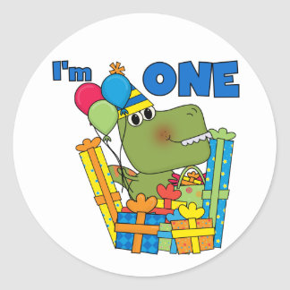 Little Dino 1st Birthday T shirts and Gifts Classic Round Sticker