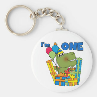 Little Dino 1st Birthday T shirts and Gifts Basic Round Button Key Ring