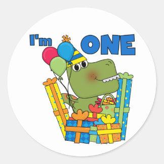 Little Dino 1st Birthday T shirts and Gifts Round Sticker