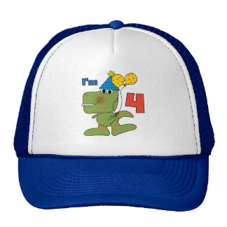 Little Dino 4th Birthday Tshirts and Gifts Cap